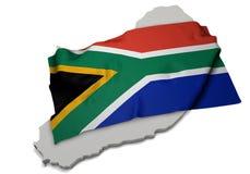 Realistische Fahne, welche die Form von Südafrika (Reihen, umfasst) Stockbild