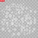 Realistische fallende Schneeflocken lokalisiert auf transparentem Hintergrund lizenzfreie abbildung