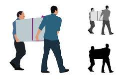 Realistische farbige Illustration von zwei Männern, die einen großen Kasten tragen lizenzfreies stockfoto