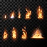 Realistische Feuerflammen eingestellt Stockfoto