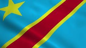 Realistische Flagge des Demokratischen Republiken Kongo stock footage