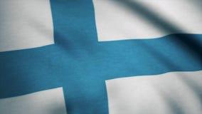 Realistische Flagge von Finnland auf der gewellten Oberfläche des Gewebes Diese Flagge kann im Design benutzt werden Lizenzfreie Stockbilder