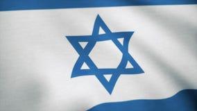 Realistische Flagge von Israel wellenartig bewegend mit in hohem Grade ausführlichem Gewebe Flagge von Italien-Hintergrund stockfotografie
