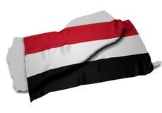 Realistische Flagge, welche die Form vom Jemen (Reihen, umfasst) Lizenzfreies Stockfoto