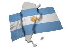 Realistische Flagge, welche die Form von Argentinien (Reihen, umfasst) Lizenzfreie Stockfotos