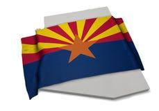 Realistische Flagge, welche die Form von Arizona (Reihen, umfasst) Stockfotografie