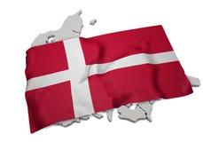 Realistische Flagge, welche die Form von Dänemark (Reihen, umfasst) Stockfoto