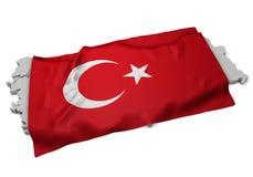 Realistische Flagge, welche die Form von der Türkei (Reihen, umfasst) Stockfotografie