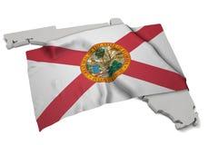 Realistische Flagge, welche die Form von Florida (Reihen, umfasst) Stockfotografie