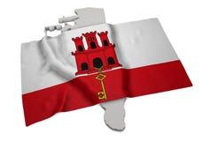 Realistische Flagge, welche die Form von Gibraltar (Reihen, umfasst) Stockbild