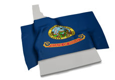 Realistische Flagge, welche die Form von Idaho (Reihen, umfasst) Lizenzfreie Stockfotos