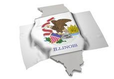 Realistische Flagge, welche die Form von Illinois (Reihen, umfasst) Lizenzfreies Stockbild