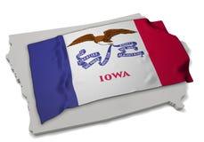 Realistische Flagge, welche die Form von Iowa (Reihen, umfasst) Stockbild