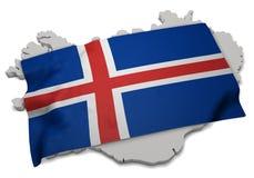 Realistische Flagge, welche die Form von Island (Reihen, umfasst) Stockfoto