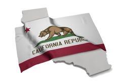 Realistische Flagge, welche die Form von Kalifornien (Reihen, umfasst) Lizenzfreie Stockfotos