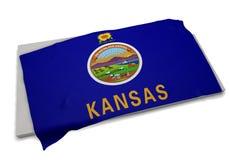 Realistische Flagge, welche die Form von Kansas (Reihen, umfasst) Stockfotos