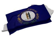 Realistische Flagge, welche die Form von Kentucky (Reihen, umfasst) Lizenzfreies Stockfoto