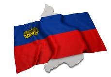 Realistische Flagge, welche die Form von Lichtenstein (Reihen, umfasst) Stockbilder