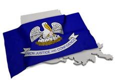 Realistische Flagge, welche die Form von Louisiana (Reihen, umfasst) Stockfotografie