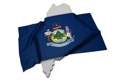 Realistische Flagge, welche die Form von Maine (Reihen, umfasst) Stockfoto
