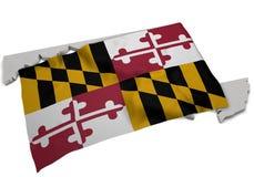 Realistische Flagge, welche die Form von Maryland (Reihen, umfasst) Lizenzfreies Stockbild