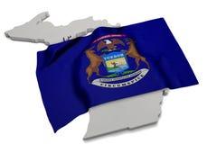 Realistische Flagge, welche die Form von Michigan (Reihen, umfasst) Stockbilder