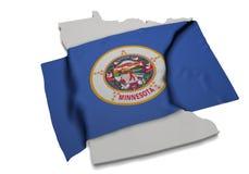 Realistische Flagge, welche die Form von Minnesota (Reihen, umfasst) Stockfoto