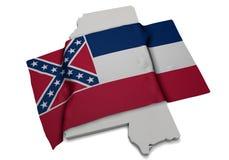 Realistische Flagge, welche die Form von Mississippi (Reihen, umfasst) Lizenzfreie Stockbilder