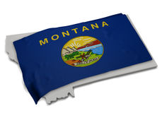 Realistische Flagge, welche die Form von Montana (Reihen, umfasst) Stockbild