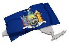 Realistische Flagge, welche die Form von New York (Reihen, umfasst) Stockbilder