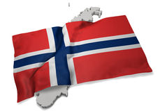 Realistische Flagge, welche die Form von Norwegen (Reihen, umfasst) Stockbild