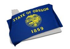 Realistische Flagge, welche die Form von Oregon (Reihen, umfasst) Lizenzfreies Stockfoto