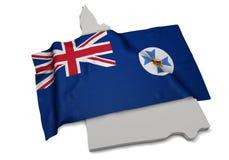 Realistische Flagge, welche die Form von Queensland (Reihen, umfasst) Stockbilder