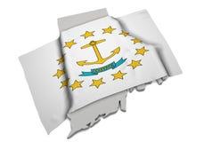 Realistische Flagge, welche die Form von Rhode Island (Reihen, umfasst) Lizenzfreies Stockfoto