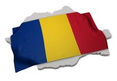 Realistische Flagge, welche die Form von Rumänien (Reihen, umfasst) Stockfotos