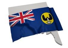Realistische Flagge, welche die Form von Süd-Australien (Reihen, umfasst) Lizenzfreies Stockfoto