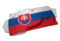 Realistische Flagge, welche die Form von Slowakei (Reihen, umfasst) Stockbild