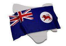 Realistische Flagge, welche die Form von Tasmanien (Reihen, umfasst) Stockbilder
