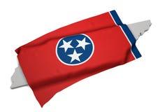 Realistische Flagge, welche die Form von Tennessee (Reihen, umfasst) Stockfotografie