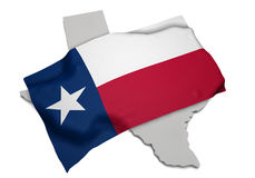 Realistische Flagge, welche die Form von Texas (Reihen, umfasst) Stockfoto