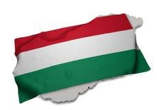 Realistische Flagge, welche die Form von Ungarn (Reihen, umfasst) Lizenzfreies Stockbild