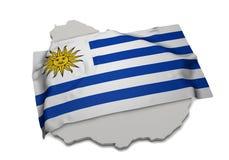 Realistische Flagge, welche die Form von Uruguay (Reihen, umfasst) Stockfoto