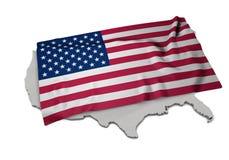 Realistische Flagge, welche die Form von USA (Reihen, umfasst) Stockfotografie
