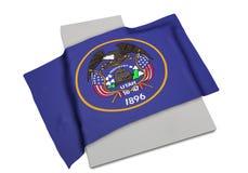 Realistische Flagge, welche die Form von Utah (Reihen, umfasst) Lizenzfreie Stockbilder