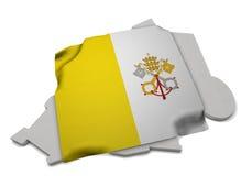 Realistische Flagge, welche die Form von Vatikan (Reihen, umfasst) Lizenzfreie Stockbilder