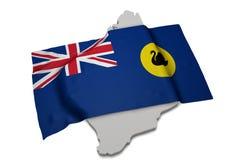 Realistische Flagge, welche die Form von West-Australien (Reihen, umfasst) Lizenzfreies Stockbild