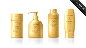 Realistische flessenreeks Kosmetisch merkmalplaatje Royalty-vrije Stock Foto