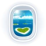 Realistische Flugzeugöffnung (Fenster) mit blauem Meer oder Ozean in ihm und in den kleinen Tropeninseln Stockfoto