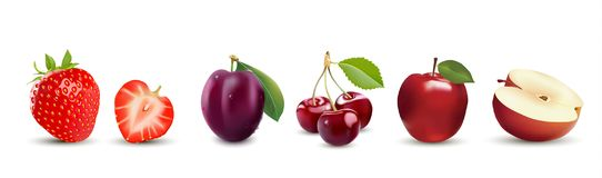 realistische fruitpictogrammen Aardbei, Apple, Pruim en Kers vector illustratie