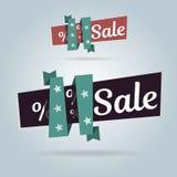 Realistische gebogene Fahne Superverkauf, Sonderangebot Vektorillustrations-Websiteelemente Stockfoto